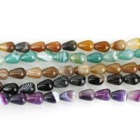 Natürliche Streifen Achat Perlen, keine, 10x14mm, Bohrung:ca. 1.5mm, ca. 29PCs/Strang, verkauft per ca. 15.5 ZollInch Strang