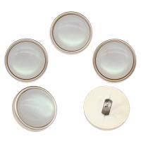 Zinklegierung Ösenknöpfe, mit Harz, Platinfarbe platiniert, weiß, frei von Nickel, Blei & Kadmium, 23x12x7mm, Bohrung:ca. 2.5mm, 100PCs/Tasche, verkauft von Tasche