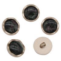 Zinklegierung Ösenknöpfe, mit Harz, KC goldfarben plattiert, schwarz, frei von Nickel, Blei & Kadmium, 23x11mm, Bohrung:ca. 2.6mm, 100PCs/Tasche, verkauft von Tasche