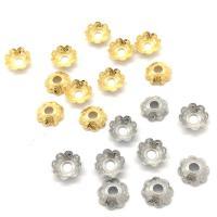 Edelstahl Perle Kappe, Blume, plattiert, DIY, keine, 7mm, Bohrung:ca. 2mm, 100PCs/Tasche, verkauft von Tasche
