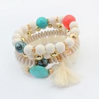 Acryl Armbänder, mit Baumwollfaden & Zinklegierung, goldfarben plattiert, für Frau, keine, Länge:ca. 7 ZollInch, verkauft von setzen