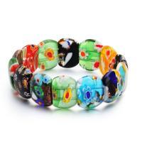 Lampwork Armbänder, für Frau & Goldsand & innen Blume, gemischte Farben, verkauft per ca. 7.5 ZollInch Strang