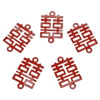 Eisen Schmuckverbinder, Einbrennlack, 1/1-Schleife, rot, frei von Nickel, Blei & Kadmium, 23x15x1mm, Bohrung:ca. 1.8mm, 1000PCs/Tasche, verkauft von Tasche
