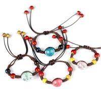 Glas Woven Ball Armbänder, mit Getrocknete Blumen & Porzellan & Wachsschnur, Epoxidharzklebstoff, unisex & einstellbar, keine, 16mm, Länge:ca. 7.5 ZollInch, 2SträngeStrang/Menge, verkauft von Menge