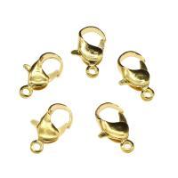Eisernen Karabinerverschluss, Eisen, goldfarben plattiert, frei von Nickel, Blei & Kadmium, 12x6x3mm, Bohrung:ca. 1.4mm, 500PCs/Tasche, verkauft von Tasche
