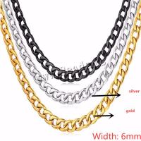 Eisen Kette Halskette, plattiert, unisex & verschiedene Größen vorhanden & Kandare Kette, keine, frei von Nickel, Blei & Kadmium, 6mm, 3SträngeStrang/Menge, verkauft von Menge