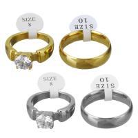 Edelstahl Paar- Ring, plattiert, mit kubischem Zirkonia, keine, 7.5x7.5mm,6mm, Größe:8-10, 2PCs/Menge, verkauft von Menge