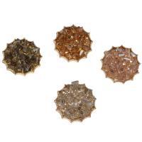 Zinklegierung Knopf, mit Glas, flache Runde, goldfarben plattiert, keine, frei von Nickel, Blei & Kadmium, 27*10mm, Bohrung:ca. 4mm, ca. 20PCs/Tasche, verkauft von Tasche