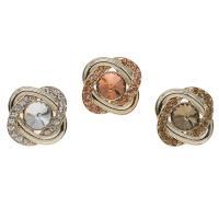 Zinklegierung Knopf, mit Glas, Rose, goldfarben plattiert, keine, frei von Nickel, Blei & Kadmium, 29.50x26x13mm, Bohrung:ca. 4mm, ca. 50PCs/Tasche, verkauft von Tasche
