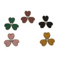 Zinklegierung Knopf, mit PU Leder, Drei Kleeblatt, goldfarben plattiert, keine, frei von Nickel, Blei & Kadmium, 29x26x10mm, Bohrung:ca. 4mm, ca. 50PCs/Tasche, verkauft von Tasche