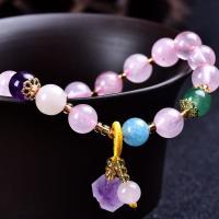 Quarz Armbänder, Natürlicher Quarz, mit Amazonit, goldfarben plattiert, für Frau, 75mm, verkauft von Strang
