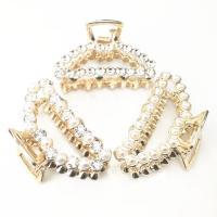 Zinklegierung Haarklammer, mit Kunststoff Perlen, goldfarben plattiert, glänzend & verschiedene Stile für Wahl & für Frau & mit Strass & hohl, frei von Nickel, Blei & Kadmium, 55mm, 2PCs/Tasche, verkauft von Tasche