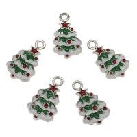 Zinklegierung Weihnachten Anhänger, Weihnachtsbaum, goldfarben plattiert, Emaille, frei von Nickel, Blei & Kadmium, 26x15x2mm, Bohrung:ca. 2.5mm, ca. 100PCs/Tasche, verkauft von Tasche