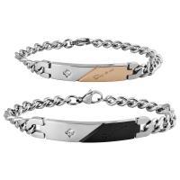 Paar Armband und Armreif, Titanstahl, mit Verlängerungskettchen von 4.5cm, Twist oval & mit Strass, keine, 52x10mm,48x8mm, verkauft per ca. 7.49 ZollInch, ca. 6.70 ZollInch Strang