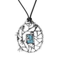 Zinklegierung Pullover Halskette, mit Lederband & Türkis, plattiert, für Frau, frei von Nickel, Blei & Kadmium, 50x65mm, verkauft von Strang