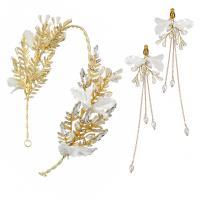 Zinklegierung Mode Schmuckset, Ohrring, mit Kunststoff Perlen, goldfarben plattiert, für Braut & für Frau & Emaille & mit Strass, weiß, frei von Nickel, Blei & Kadmium, 14*14cm,15*5CM, verkauft von setzen