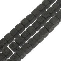 Natürliche Lava Perlen, Quadrat, verschiedene Größen vorhanden, schwarz, Bohrung:ca. 1mm, verkauft per ca. 14.9 ZollInch Strang