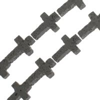 Natürliche Lava Perlen, Kreuz, verschiedene Größen vorhanden, schwarz, Bohrung:ca. 1mm, verkauft per ca. 14.9 ZollInch Strang