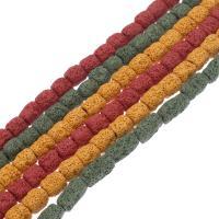 Natürliche Lava Perlen, Zylinder, keine, 12*10mm-22*10mm, Bohrung:ca. 1mm, verkauft per ca. 14.9 ZollInch Strang