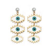 Zinklegierung Tropfen Ohrring, mit ABS-Kunststoff-Perlen, blöser Blick, goldfarben plattiert, für Frau & Emaille, frei von Nickel, Blei & Kadmium, 27x72mm, verkauft von Paar