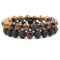 Natürliche Tiger Eye Armband, Tigerauge, mit Lava, rund, verschiedenen Materialien für die Wahl & unisex, 10mm, verkauft per ca. 7.87 ZollInch Strang