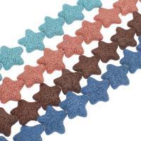 Natürliche Lava Perlen, Stern, keine, 27x25x9mm, Bohrung:ca. 1mm, 14PCs/Strang, verkauft per ca. 14.9 ZollInch Strang
