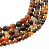 Natürliche Streifen Achat Perlen, rund, verschiedene Größen vorhanden, keine, Bohrung:ca. 1mm, verkauft per ca. 14.9 ZollInch Strang