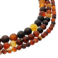 Natürliche Streifen Achat Perlen, rund, verschiedene Größen vorhanden & satiniert, Bohrung:ca. 1mm, verkauft per ca. 14.9 ZollInch Strang