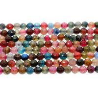 Natürliche Drachen Venen Achat Perlen, Drachenvenen Achat, rund, facettierte, keine, 8mm, Bohrung:ca. 1mm, ca. 45PCs/Strang, verkauft per ca. 14.9 ZollInch Strang