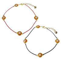 Edelstahl Armband, mit Nylonschnur, mit Verlängerungskettchen von 1.5Inch, goldfarben plattiert, böser Blick- Muster & für Frau, keine, 16.5x10mm,1mm, verkauft per ca. 10 ZollInch Strang