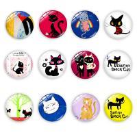 Glas Cabochons, rund, Kunstdruck, för tids pärla cabochon & gemischtes Muster & verschiedene Größen vorhanden, gemischte Farben, 100PCs/Tasche, verkauft von Tasche