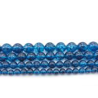 Natürlicher Quarz Perlen Schmuck, rund, verschiedene Größen vorhanden & Knistern, blau, Bohrung:ca. 1mm, verkauft per ca. 14.9 ZollInch Strang