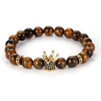 Tigerauge Armband, mit Messing, Krone, plattiert, unisex & Micro pave Zirkonia, keine, frei von Nickel, Blei & Kadmium, 8mm, Länge:ca. 7.48 ZollInch, verkauft von Menge