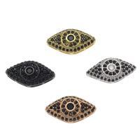 Strass Messing Perlen, Auge, plattiert, DIY & mit Strass, keine, frei von Nickel, Blei & Kadmium, 19x10x5mm, Bohrung:ca. 1mm, 10PCs/Tasche, verkauft von Tasche
