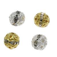 Strass Messing Perlen, rund, plattiert, verschiedene Größen vorhanden & mit Strass, keine, frei von Nickel, Blei & Kadmium, Bohrung:ca. 1.2mm, verkauft von Tasche