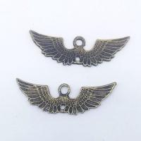 Flügel Zinklegierung Anhänger , Flügelform, antike Bronzefarbe plattiert, frei von Nickel, Blei & Kadmium, 43x13x1.50mm, Bohrung:ca. 1mm, 100PCs/Tasche, verkauft von Tasche