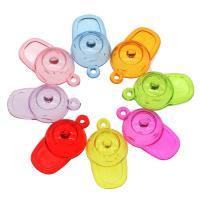 Acryl Anhänger, Hut, DIY, gemischte Farben, 38x21x17mm, Bohrung:ca. 2mm, ca. 322PCs/Tasche, verkauft von Tasche