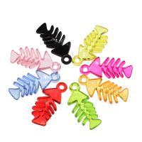 Acryl Anhänger, Fischgräte, DIY, gemischte Farben, 34x14x5mm, Bohrung:ca. 2.5mm, ca. 480PCs/Tasche, verkauft von Tasche