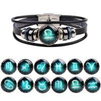 PU Leder Armband, mit Glas & Edelstahl, Zeit Edelstein Schmuck & unisex & verschiedene Stile für Wahl & glänzend & Aufkleber, verkauft per ca. 7.5 ZollInch Strang