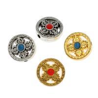 Zinklegierung flache Perlen, mit Synthetische Türkis, flache Runde, plattiert, DIY, keine, frei von Nickel, Blei & Kadmium, 18*9mm, Bohrung:ca. 2.5mm, 50PCs/Tasche, verkauft von Tasche
