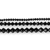 Natürliche schwarze Achat Perlen, Schwarzer Achat, DIY & verschiedene Größen vorhanden, schwarz, Bohrung:ca. 1,1.5mm, verkauft per ca. 15.5 ZollInch Strang