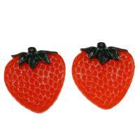 Harz Anhänger, Erdbeere, DIY, rot, 51x45x8mm, Bohrung:ca. 2mm, 100PCs/Tasche, verkauft von Tasche