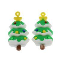 Harz Anhänger, Weihnachtsbaum, DIY, 56x27x16mm, Bohrung:ca. 3mm, 100PCs/Tasche, verkauft von Tasche