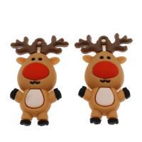 Harz Anhänger, Weihnachtselch, DIY, kakifarben, 59x36x19mm, Bohrung:ca. 3.2mm, 100PCs/Tasche, verkauft von Tasche
