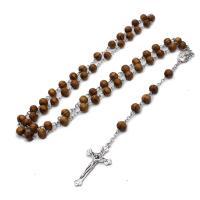 Holz Halskette, mit Edelstahl, Jesus Kreuz, plattiert, unisex, 42x23mm, verkauft von Strang