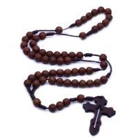 Holz Halskette, mit Gewachsten Baumwollkordel, Kreuz, unisex, braun, 48x31mm, verkauft von Strang