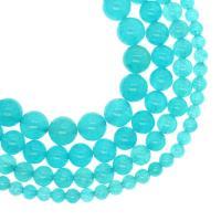 Amazonit Perlen, rund, verschiedene Größen vorhanden, himmelblau, Bohrung:ca. 1mm, verkauft per ca. 14.9 ZollInch Strang