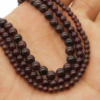 Natürlicher Granat Perlen, rund, verschiedene Größen vorhanden, Bohrung:ca. 1mm, verkauft per ca. 14.9 ZollInch Strang
