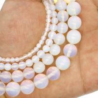 Opal Perlen, rund, verschiedene Größen vorhanden, weiß, Bohrung:ca. 1mm, verkauft per ca. 14.9 ZollInch Strang