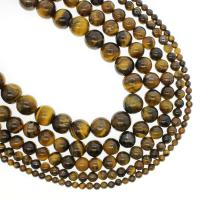 Tigerauge Perlen, rund, verschiedene Größen vorhanden, Bohrung:ca. 1mm, verkauft per ca. 14.9 ZollInch Strang